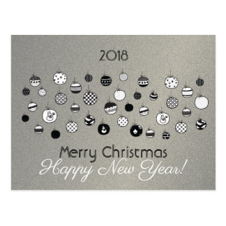 Christmas Silver Elegant Stylish Corporate Company Postcard