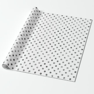 Christmas Silver Glitter Dots White Wrapping Paper