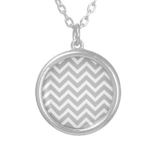 Christmas Silver & White Striped Chevron ZigZag Necklaces