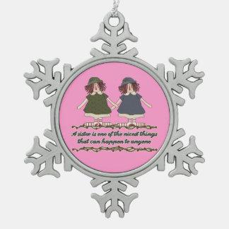 Christmas Sister Holiday snowflake ornament