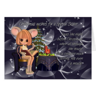 Christmas Sister, night before Christmas mouse Greeting Card