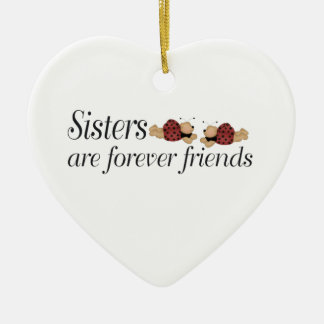Christmas Sisters are forever friends Ceramic Heart Decoration