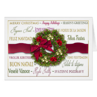 Christmas - Six Languages - International - Wreath Card
