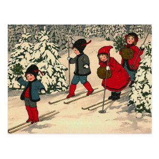 """Christmas Skiing"" Postcard"