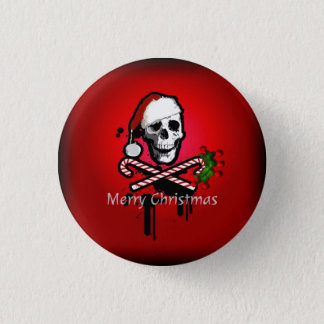 Christmas skull 3 cm round badge