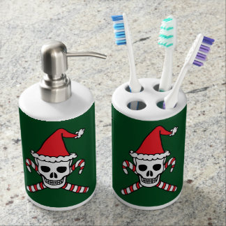 Christmas Skull And Candycane Crossbones Bath Set