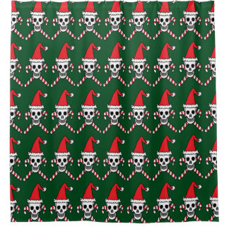Christmas Skull and Candycane Crossbones Shower Curtain