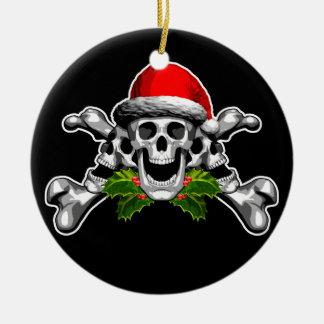 Christmas Skull and Crossbones Ceramic Ornament