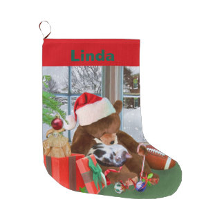Christmas, Sleeping Cat, Teddy Bear, Name Large Christmas Stocking