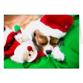 Christmas Sleeping Puppy With Santa Dog Toy Card
