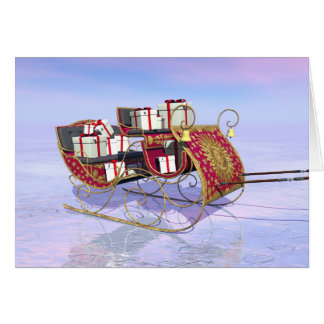 Christmas sleigh carrying gifts card