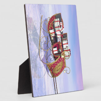 Christmas sleigh carrying gifts plaques