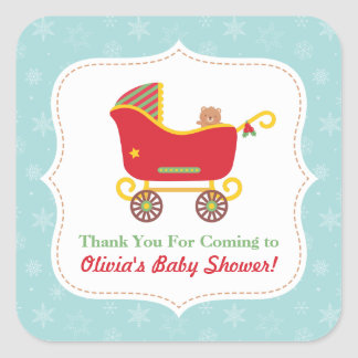 Christmas Sleigh Stroller Thank You Baby Shower Square Sticker