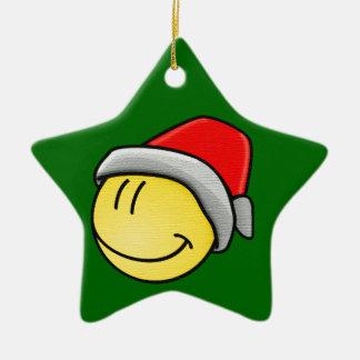 Christmas Smiley Face Ceramic Star Decoration