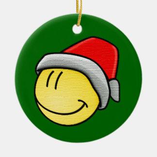 Christmas Smiley Face Round Ceramic Decoration