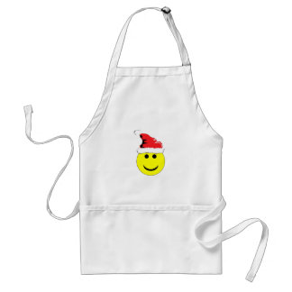 Christmas Smiley With A Santa Hat Apron