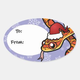 Christmas Snake Oval Sticker