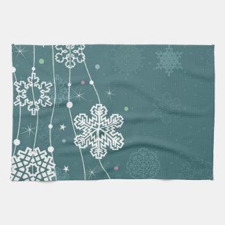Christmas snow2 tea towel