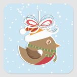 Christmas Snow Bird Winter Holiday Gift Seals Square Stickers