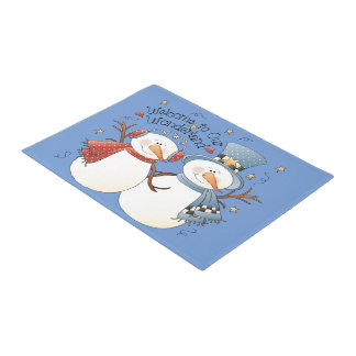 Christmas snow couple Holiday doormat