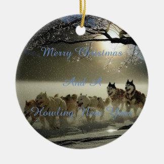 Christmas snow dog ornament