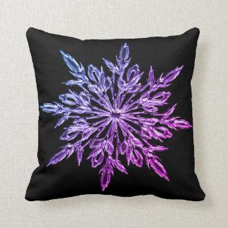 Christmas snow flake decorative black Throw pillow