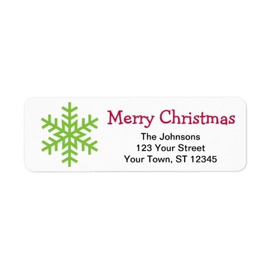 Christmas snow flake return address lables return address label