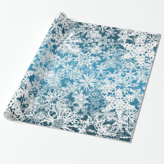 Christmas Snow Flurries Blue Wrapping Paper