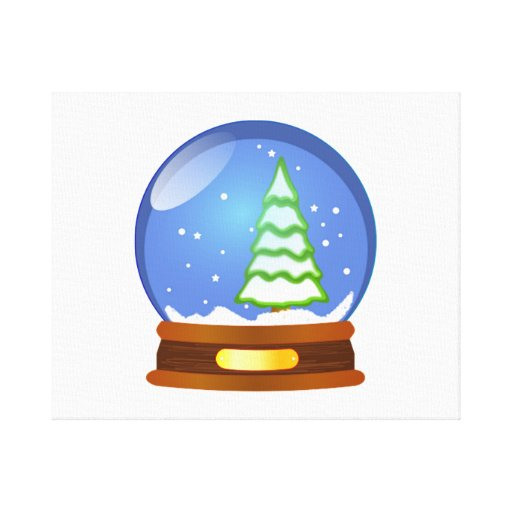 Christmas Snow Globe Stretched Canvas Print