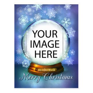 Christmas Snow Globe for your own photo Postcard