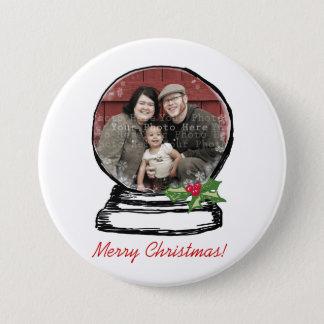 Christmas Snow Globe Photo 7.5 Cm Round Badge