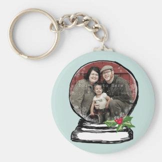 Christmas Snow Globe Photo Basic Round Button Key Ring