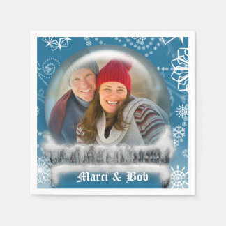 Christmas Snow Globe Photo Template Personalized Paper Napkin