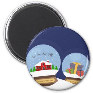 Christmas Snow Globes and Santa Claus Present 6 Cm Round Magnet