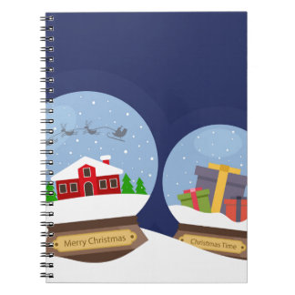 Christmas Snow Globes and Santa Claus Present Spiral Notebook