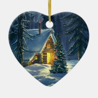 Christmas Snow Landscape Ceramic Heart Ornament