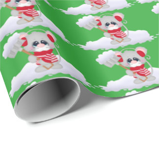 Christmas snow mice Holiday wrapping paper