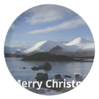 Christmas snow on Black Mount , Scotland Plate