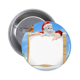 Christmas Snow Scene Santa Sign Pinback Buttons