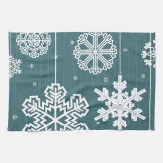 Christmas snow tea towel