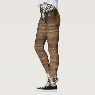 christmas snow wood holidays joy decor leggings