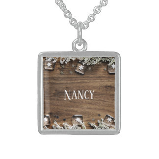 christmas snow wood holidays joy decor sterling silver necklace