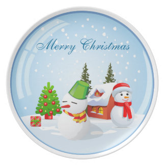 Christmas Snowball with Cute Snowman & Tree Plate