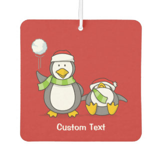 Christmas Snowballing penguins Car Air Freshener