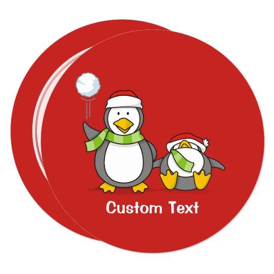 Christmas Snowballing penguins Card