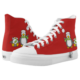 Christmas Snowballing penguins High Tops