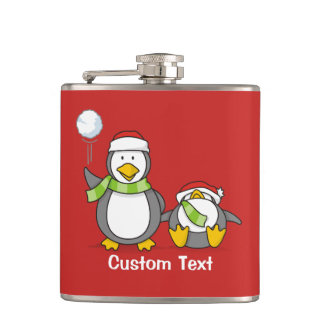 Christmas Snowballing penguins Hip Flask