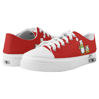 Christmas Snowballing penguins Low Tops