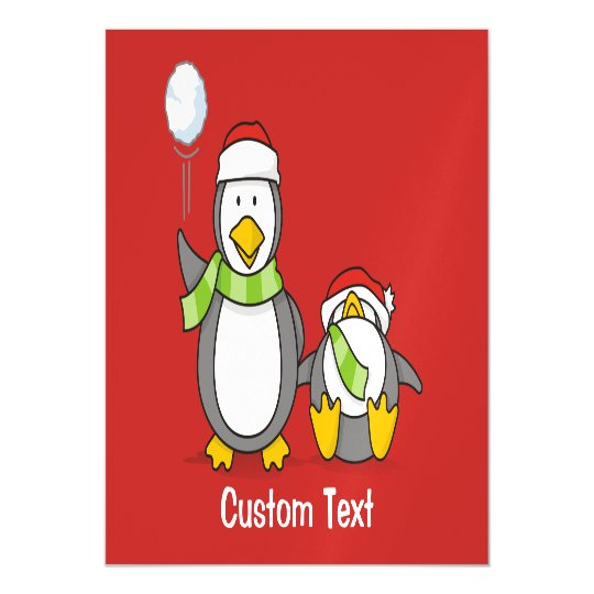 Christmas Snowballing penguins Magnetic Card