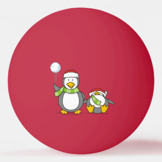 Christmas Snowballing penguins Ping Pong Ball